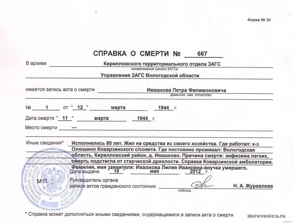 где выдают справку о смерти - fasdom.ru